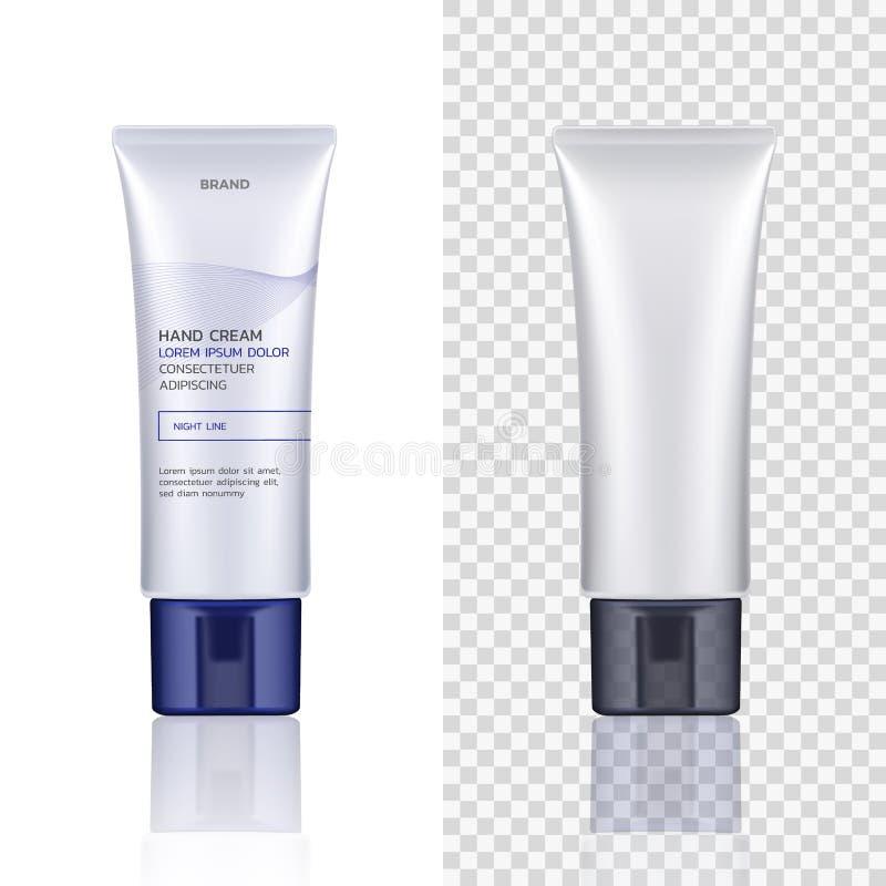 Wektorowy zbiornik, tubka dla kosmetycznych produktów odizolowywających na białym i przejrzystym tle Opróżnia Próbny up stosowani ilustracji