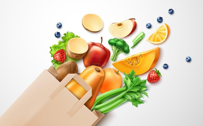 Wektorowy zdrowy jedzenie, organicznie owoc w torbie na zakupy ilustracja wektor