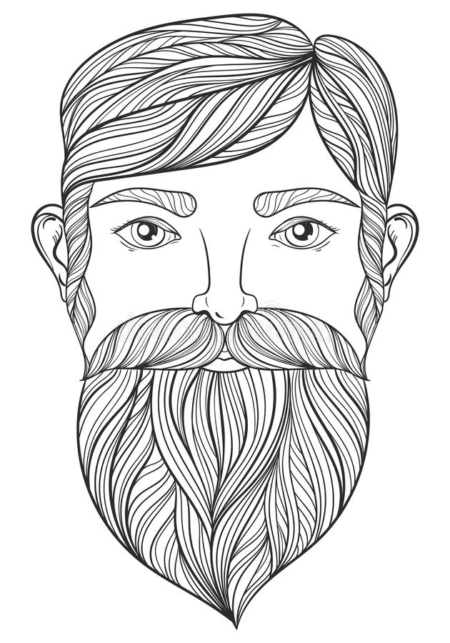 Wektorowy zentangle portret mężczyzna z wąsy i broda dla adu ilustracji