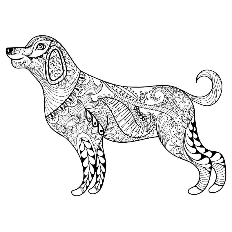 Wektorowy zentangle psa druk dla dorosłej kolorystyki strony Ręka rysujący a ilustracji