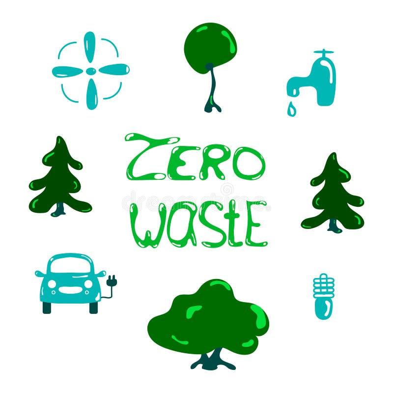 Wektorowy zero projekta jałowy pojęcie, przetwarza i reuse, zmniejsza - ekologiczny styl życia i podtrzymywalni rozwoje ikony ilustracja wektor