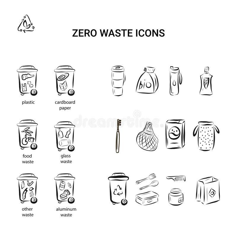 Wektorowy zestaw elementów projektowych, wzór logo, ikony i odznaki dla naturalnych i ekologicznych produktów w modnych liniach ilustracja wektor