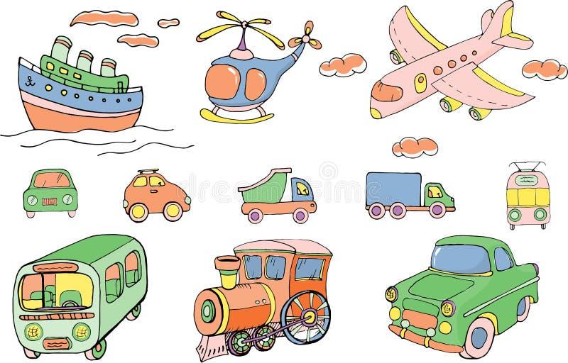 Wektorowy zestaw transportów Kolorowe obiekty izolowane na białym tle ilustracji