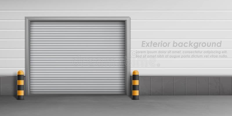 Wektorowy zewnętrzny tło z zamkniętym garażu drzwi ilustracja wektor