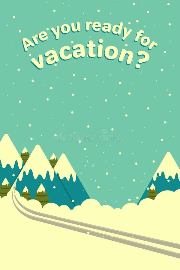 Wektorowy zim gór tło z narta śladem Reklamowy plakat dla agencji podróży