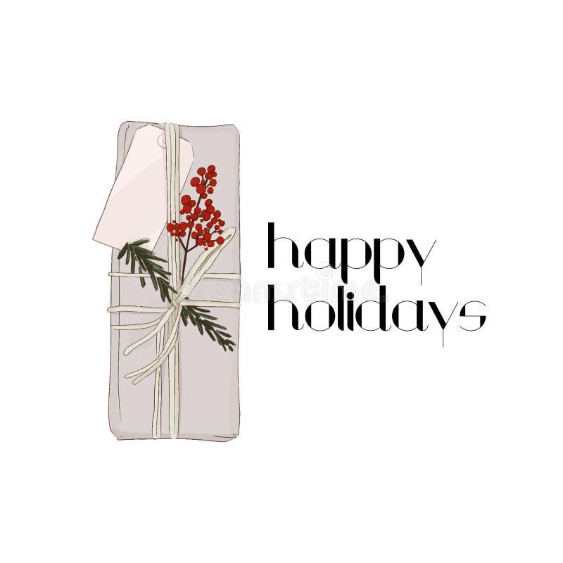 Wektorowy zima wakacji prezent Wakacyjny dekoracja pakunek Boże Narodzenie niespodzianki pudełko z czerwonymi jagodami i sprig z  royalty ilustracja