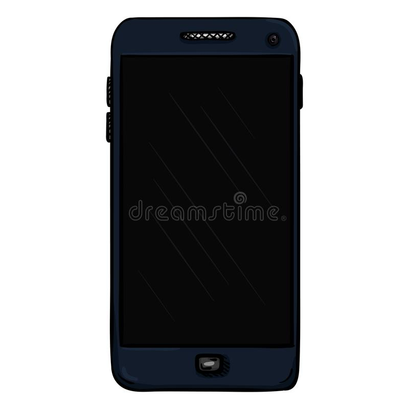 Wektorowy zmrok - błękitny telefon komórkowy cellphone Smartphone royalty ilustracja
