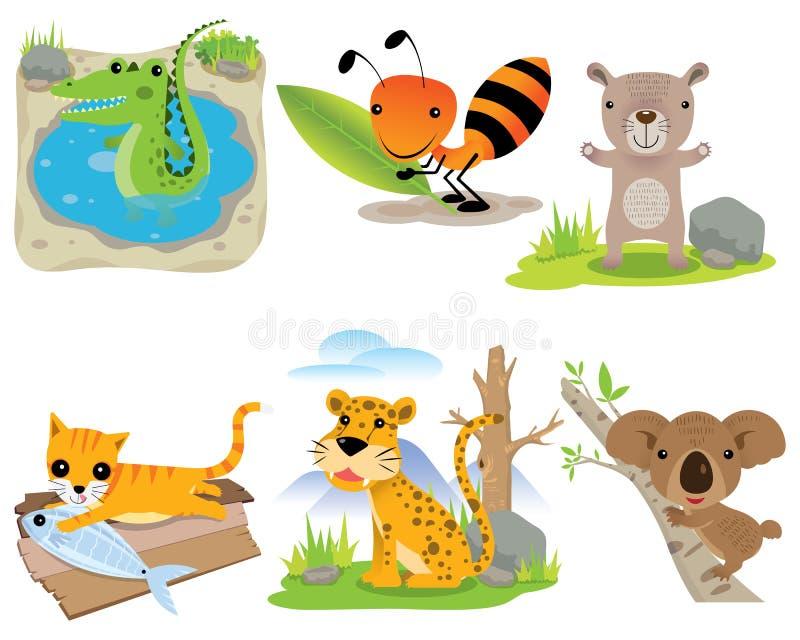 Wektorowy zwierzę set, krokodyl, mrówka, niedźwiedź, kot, lampart, koala, ilustracja wektor