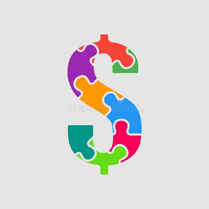Wektorowych łamigłówka kawałków szyldowy dolar Wyrzynarki sprzedaż ilustracji