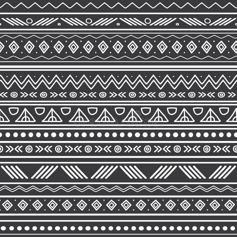 Wektorowych abstrakcjonistycznych czarny i biały plemiennych lampasów bezszwowy deseniowy tło Wielki dla tkaniny, tapeta, zaprosz royalty ilustracja