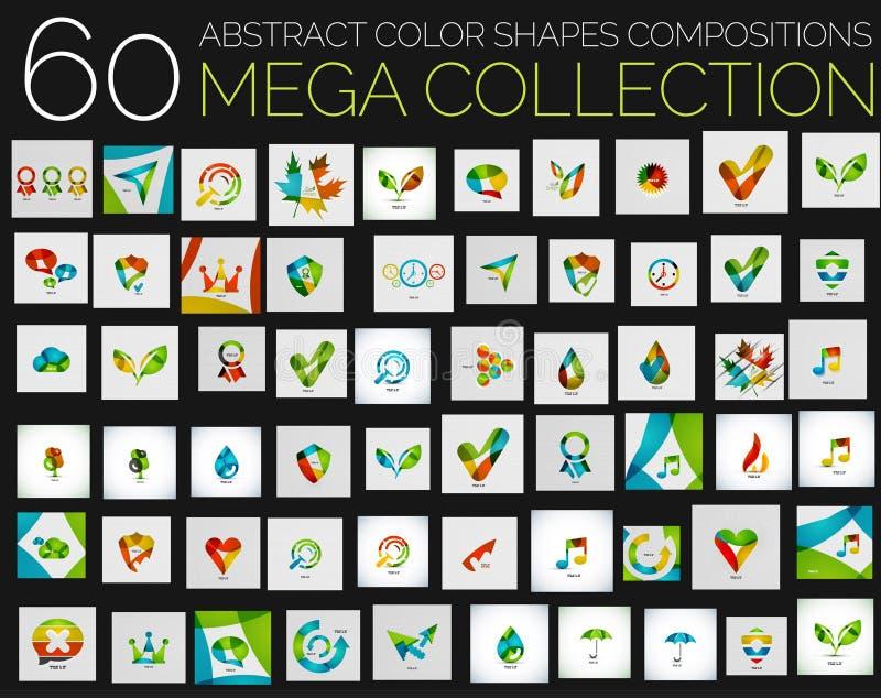 Wektorowych abstrakcjonistycznych kolorowych kształtów różnorodni pojęcia ilustracji