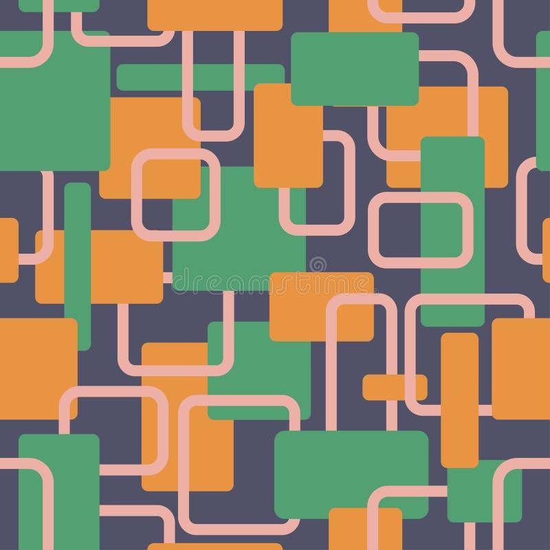 Wektorowych abstrakcjonistycznych kwadratów vitage kontrasta bezszwowy wzór royalty ilustracja