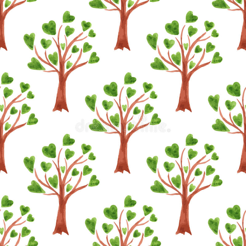 Wektorowych akwareli drzew bezszwowy wzór Drzewa z liśćmi w sercach Może używać dla tapety, tkanina projekt, tekstylny projekt, c ilustracji