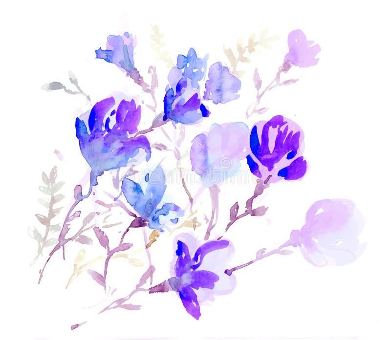 Wektorowych akwareli kolorowi kwiaty royalty ilustracja
