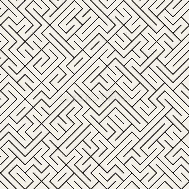 Wektorowych Bezszwowych Czarny I Biały Cienkich linii labiryntu Nieregularny wzór ilustracja wektor