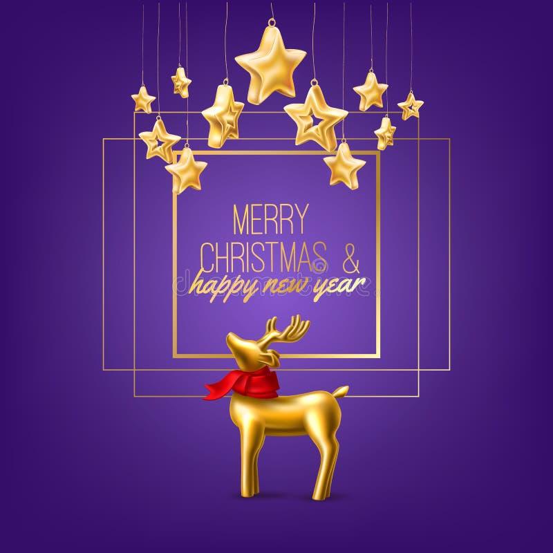 Wektorowych bożych narodzeń złoty renifer na purpury ramie ilustracja wektor