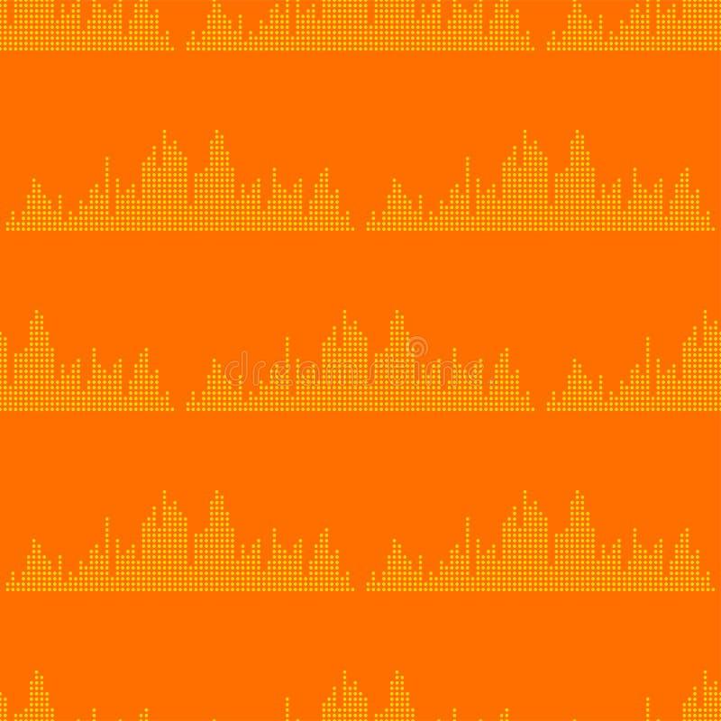 Wektorowych cyfrowych muzycznych wyrównywacz audio fala projekta szablonu audio sygnału unaocznienia bezszwowy deseniowy sygnał ilustracja wektor