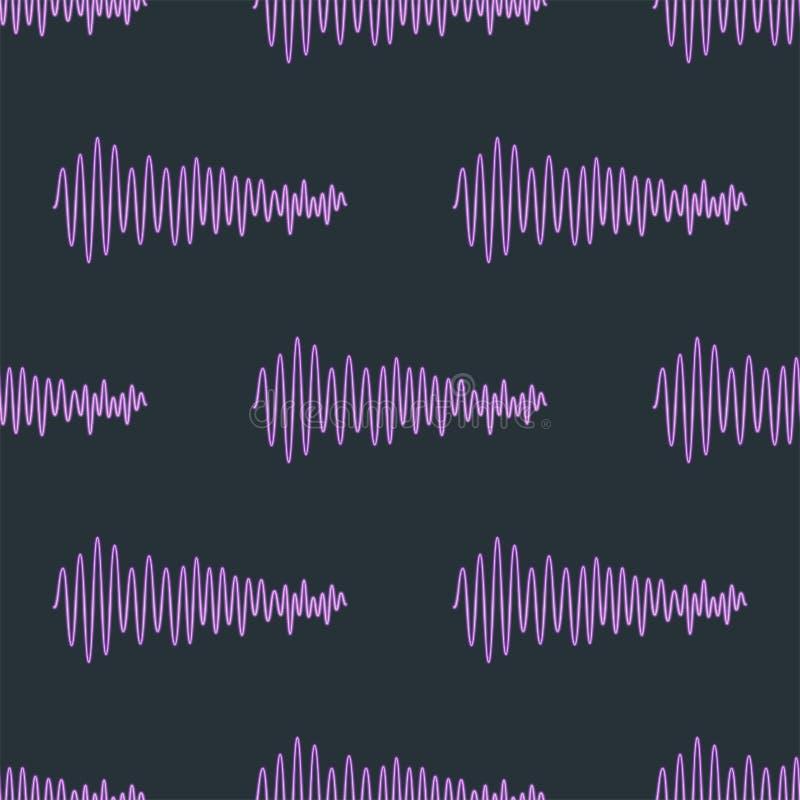 Wektorowych cyfrowych muzycznych wyrównywacz audio fala projekta szablonu audio sygnału unaocznienia bezszwowy deseniowy sygnał royalty ilustracja