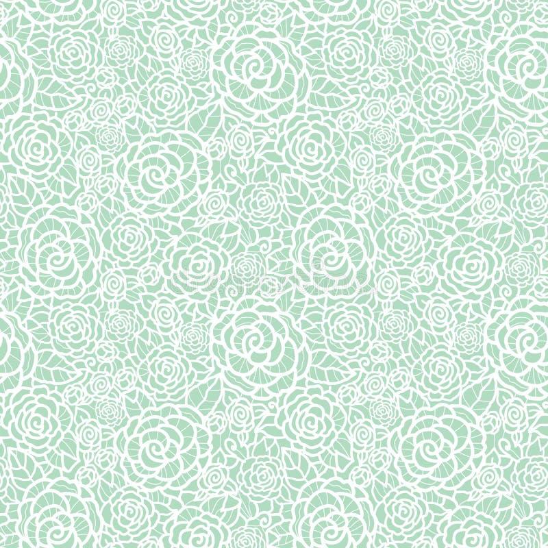 Wektorowych delikatnych pastel mennicy zieleni koronki róż powtórki wzoru bezszwowy tło Wielki dla poślubiać lub bridal prysznic  ilustracji
