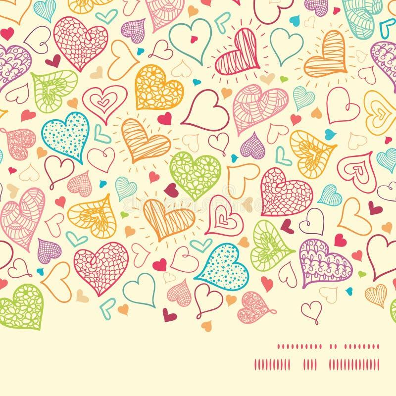 Wektorowych doodle serc sylwetki kierowy wzór ilustracji