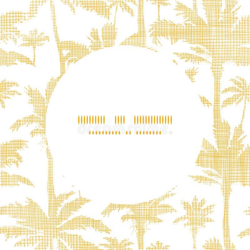 Wektorowych drzewek palmowych tkaniny ramy złoty okrąg ilustracji