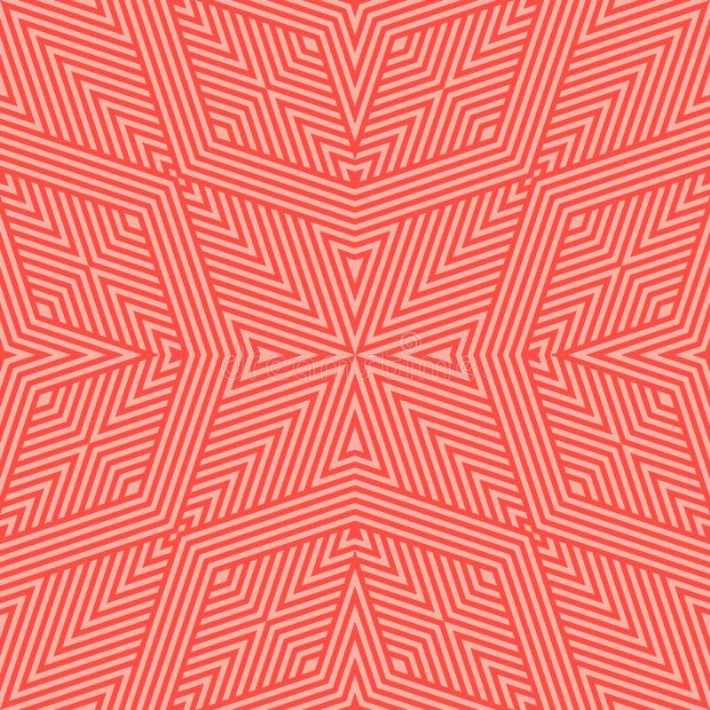Wektorowych geometrycznych linii bezszwowy wz?r Jaskrawa czerwień i koralowy liniowy tło royalty ilustracja