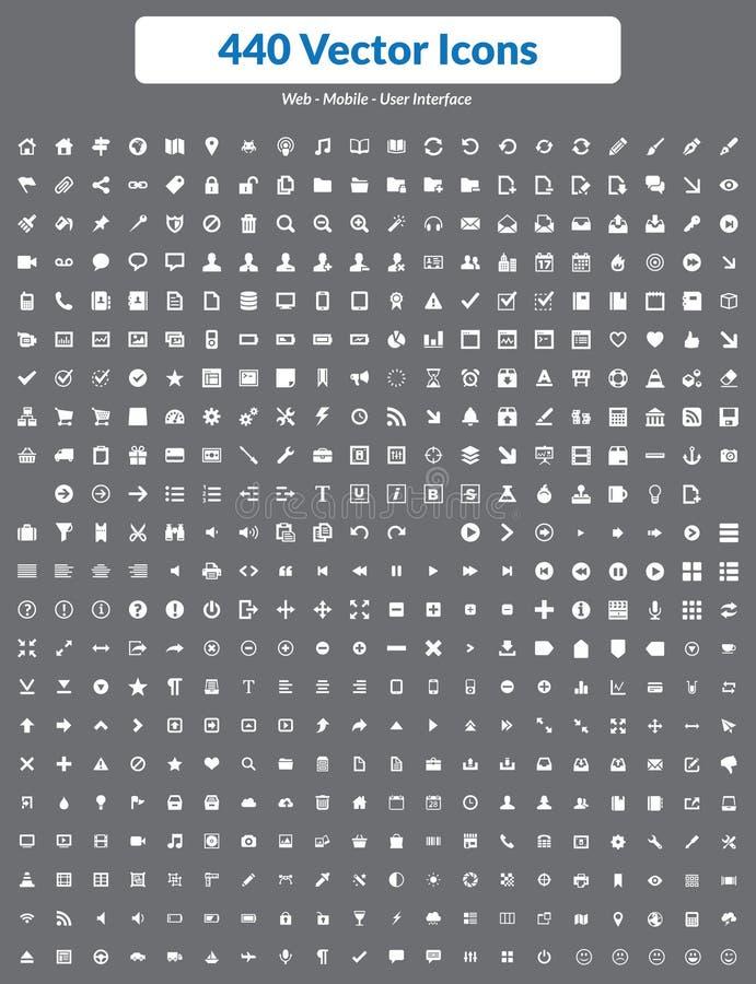440 Wektorowych ikon (biel Ustawiający) royalty ilustracja