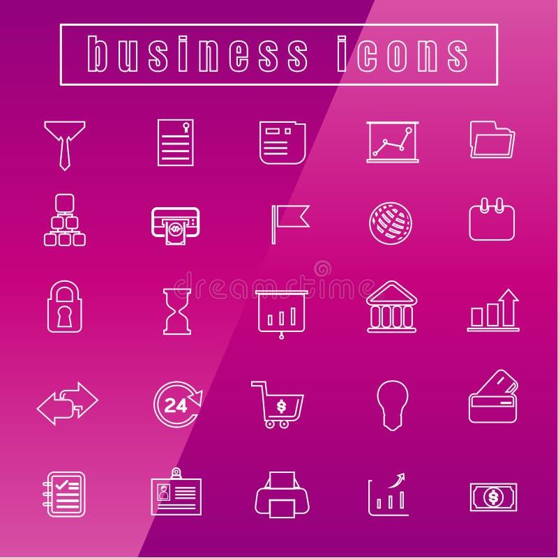Wektorowych ikon biurowego wyposażenia Biznesowy Cienki Kreskowy biel ilustracji