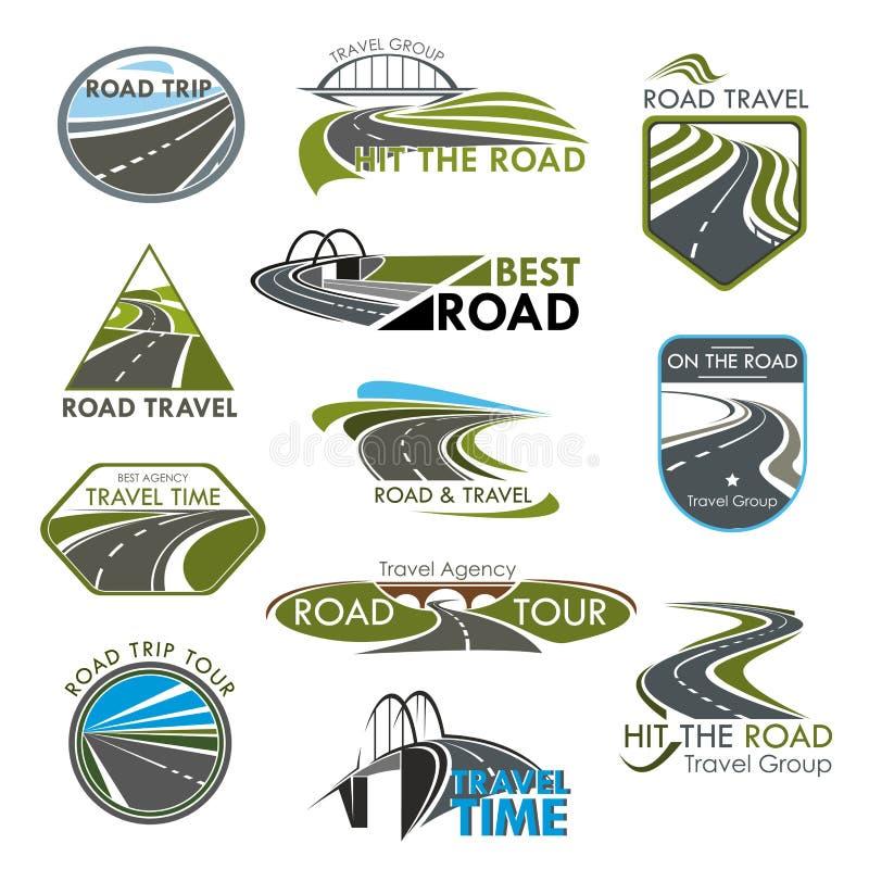 Wektorowych ikon drogowa podróż lub turystyczna wycieczki firma ilustracja wektor