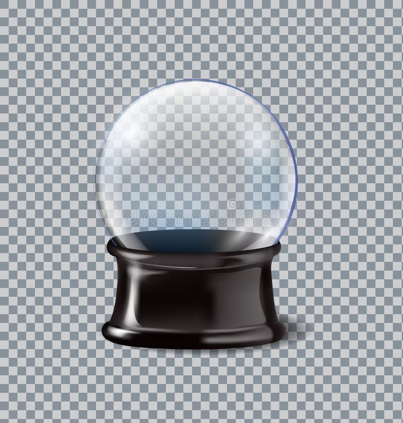 Wektorowych ilustracyjnych realistycznych pustych bożych narodzeń śnieżna kula ziemska na przejrzystym tle ilustracja wektor