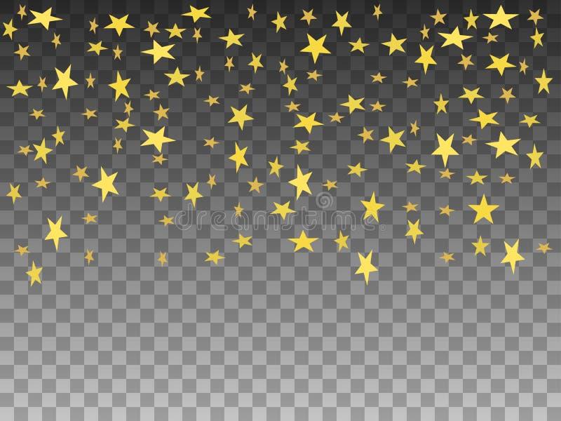 Wektorowych ilustracyjnych złotych przedmiotów spada gwiazdy ilustracja wektor