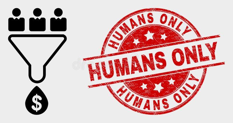 Wektorowych klient sprzedaży Tulejowa ikona i Porysowana istoty ludzkiej Tylko foka ilustracja wektor