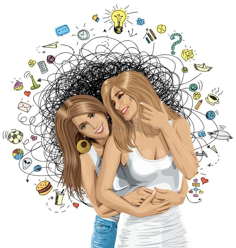 Wektorowych kobiet Homoseksualna para Patrzeje na kamerze ilustracja wektor