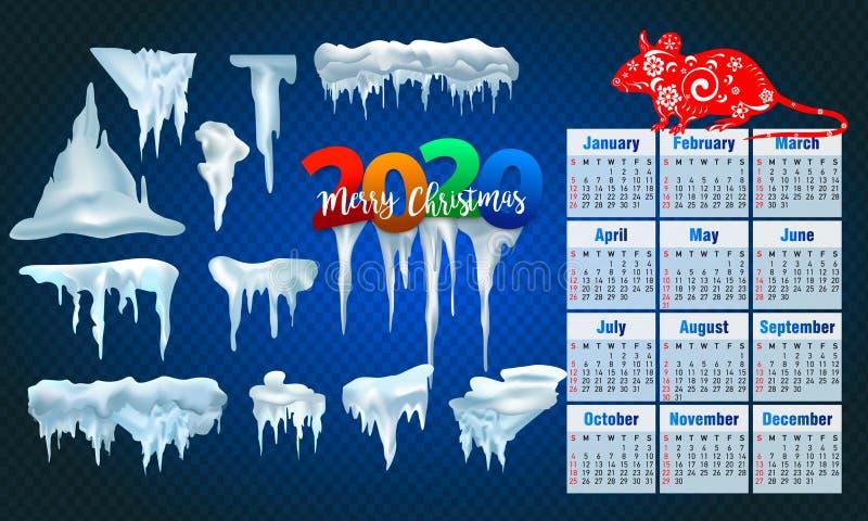 2020 Wektorowych kolekcji śnieg nakrętki, stos, sople odizolowywający na, przejrzyści, lodowi, tle, snowball i snowdrift, 3d zima ilustracji