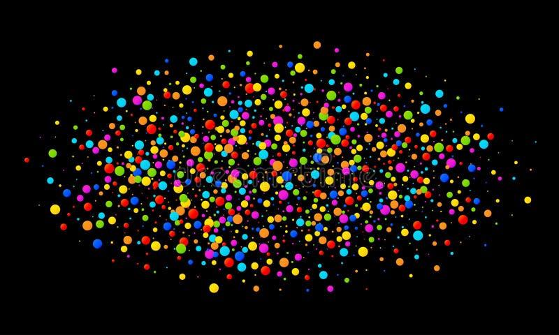 Wektorowych kolorowych jaskrawych tęcza kolorów owalu chmury confetti round papiery odizolowywający na czarnym tle Urodzinowy sza ilustracji