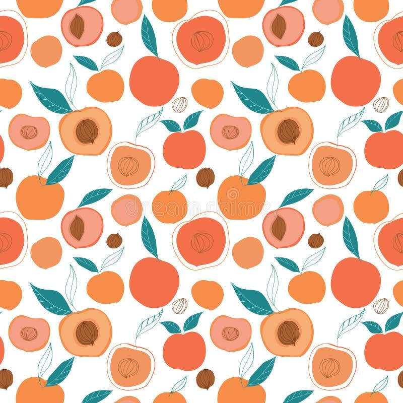 Wektorowych kolorowych smakowitych modnych brzoskwini bezszwowy wzór na lekkim tle royalty ilustracja