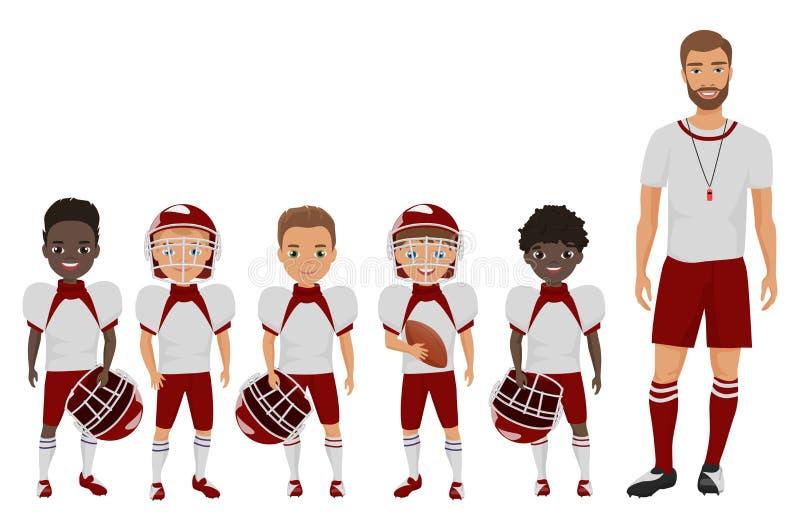 Wektorowych kreskówki mieszkania szkoły futbolu amerykańskiego chłopiec drużynowa pozycja z ich powozowym trenerem ilustracja wektor