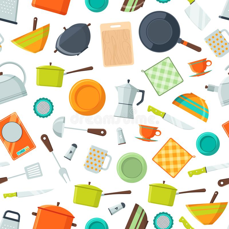 Wektorowych kuchennych naczyń ikon płaski tło lub wzór ilustracja royalty ilustracja