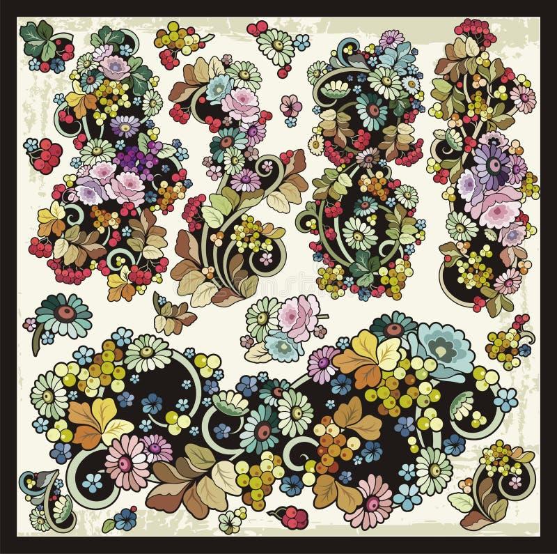 Wektorowych Kwiecistych zawijasów Clipart Ornamentacyjny set royalty ilustracja