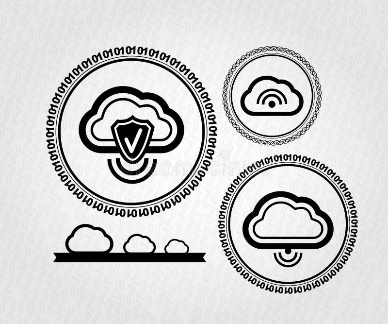 Wektorowych lables obłoczny podłączeniowy pojęcie ilustracji