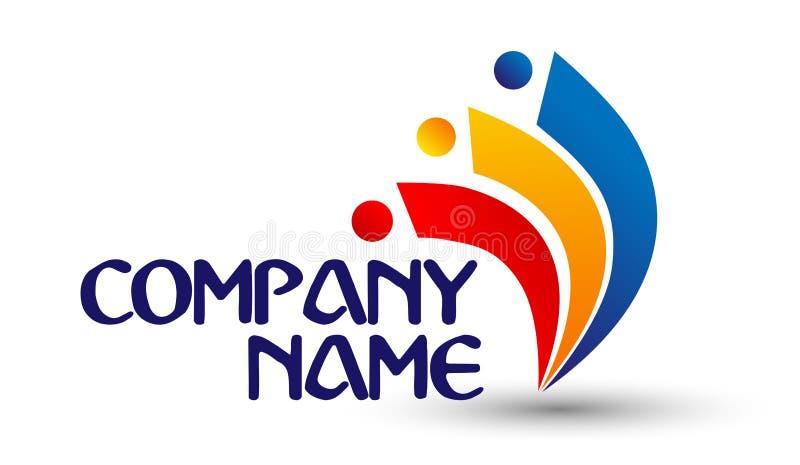 Wektorowych mężczyzna grupowy logo, drużynowa praca, istota ludzka, rodzina, pracy zespołowej ikona Społeczność, ludzie podpisuje royalty ilustracja