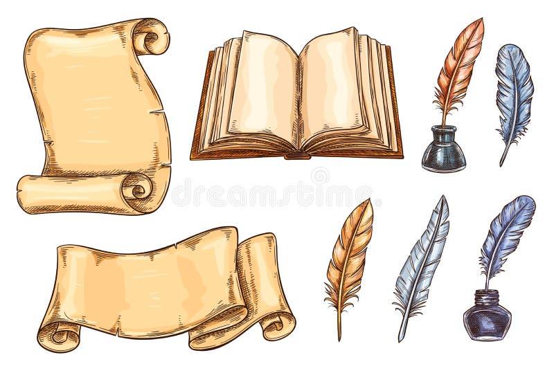 Wektorowych nakreślenie ikon stary rocznik rezerwuje materiały ilustracji