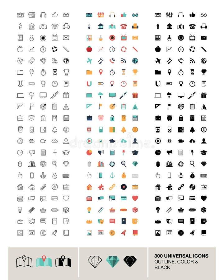 300 wektorowych ogólnoludzkich ikon robić w konturze, kolorze i czerni, royalty ilustracja