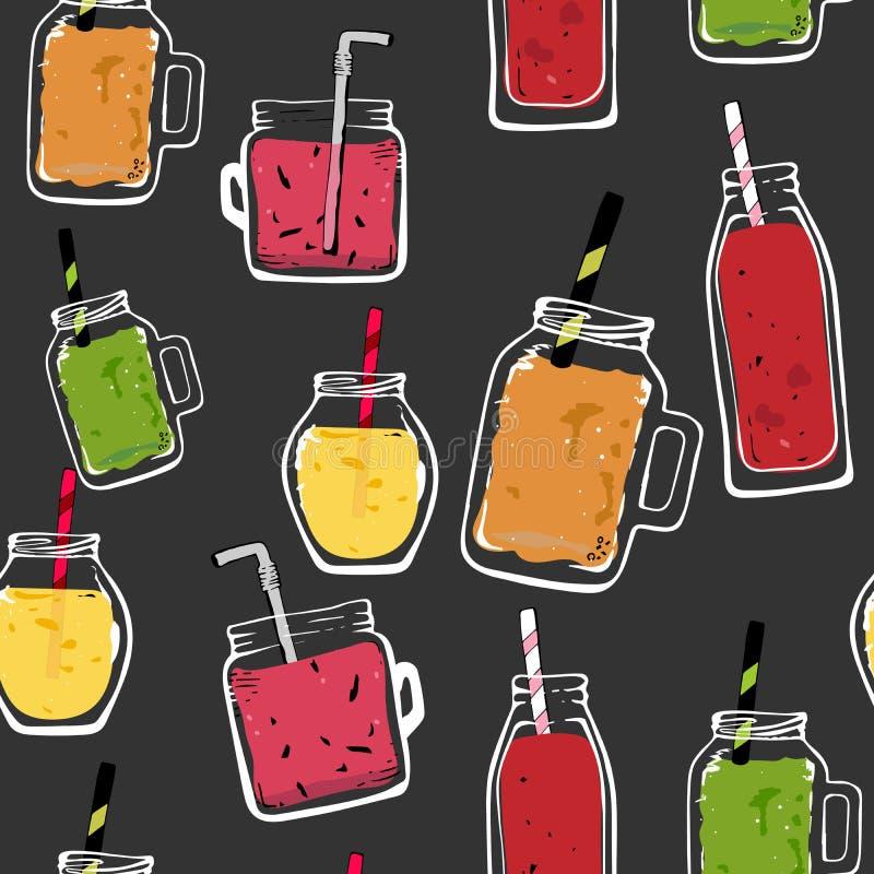 Wektorowych organicznie owoc bezszwowy deseniowy koktajl szklanej butelki słój, odosobniony wyśmienicie weganin pije, smakowici s royalty ilustracja