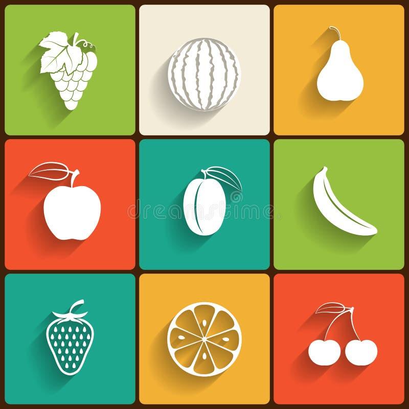 Wektorowych owoc ikony płaski set ilustracja wektor