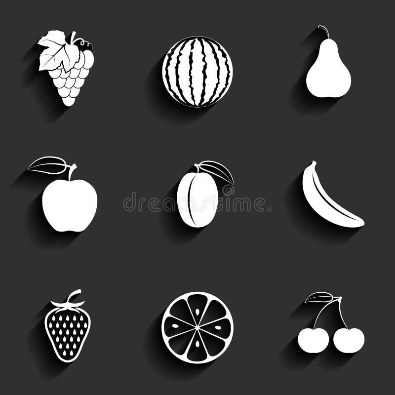 Wektorowych owoc ikony płaski set royalty ilustracja