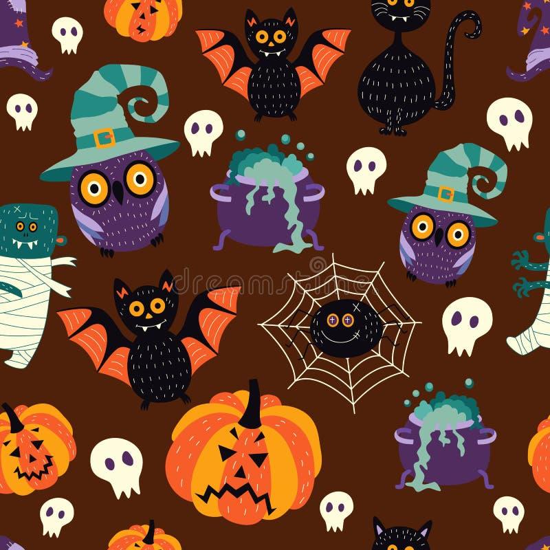 Wektorowych płaskich Halloween symboli/lów bezszwowy wzór royalty ilustracja