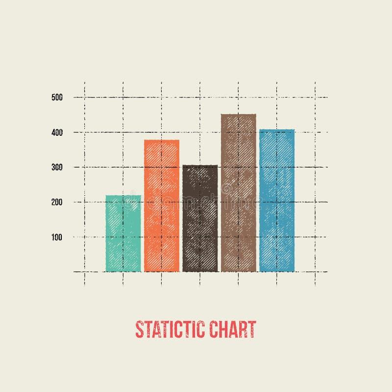 Wektorowych płaskich projekta infographics statystyk prętowy wykres - grunge ponowny ilustracja wektor