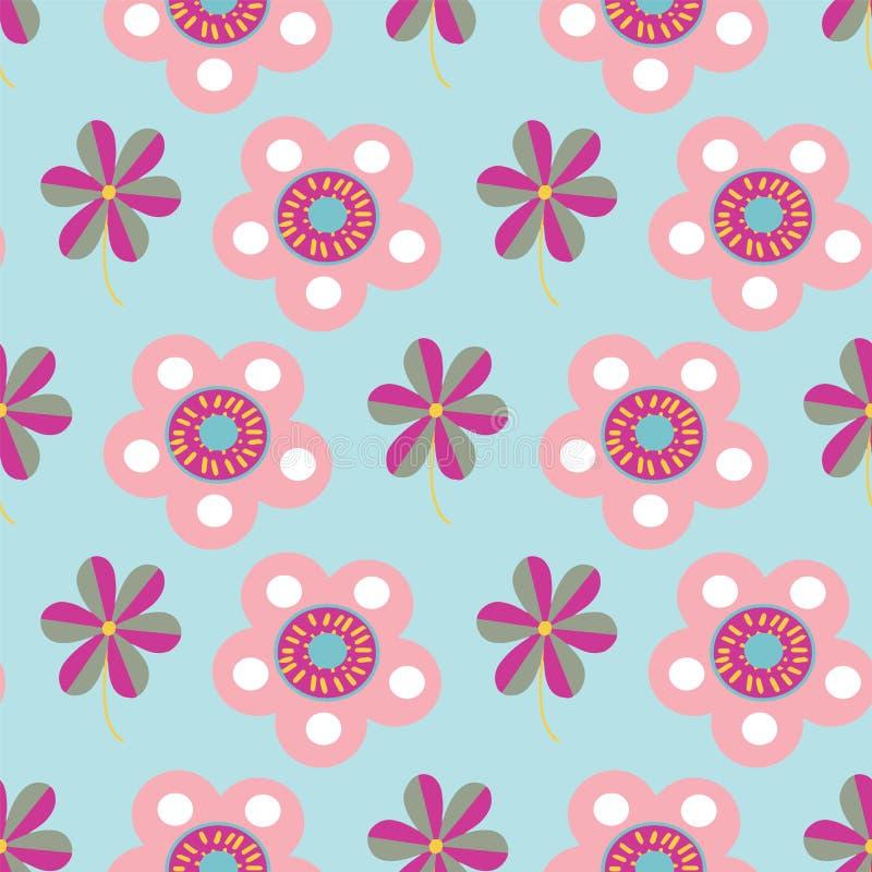 Wektorowych pastelowych ludowych kwiatów motywów bezszwowy wzór ilustracja wektor