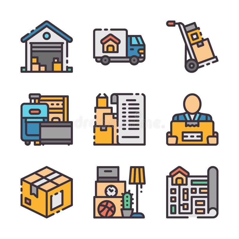 9 wektorowych poruszających ikon Wektor barwi ikonę ilustracja wektor